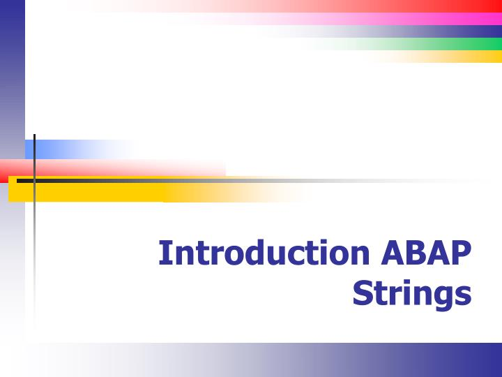 introduction abap strings n.