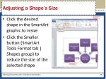 adjusting a shape s size