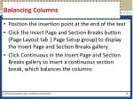 balancing columns