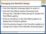 changing the wordart shape