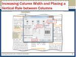 increasing column width and placing a vertical rule between columns1