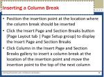 inserting a column break