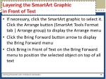 layering the smartart graphic in front of text