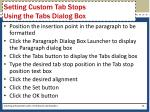 setting custom tab stops using the tabs dialog box