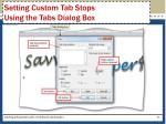 setting custom tab stops using the tabs dialog box1