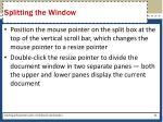 splitting the window