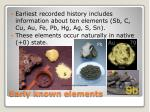early known elements