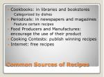 common sources of recipes