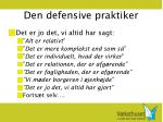 den defensive praktiker