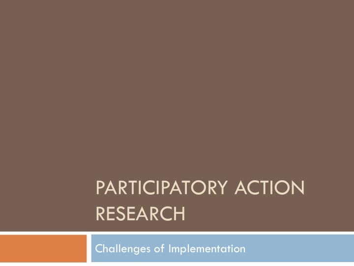 participatory action research n.