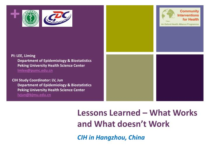 lessons learned what works and what doesn t work n.