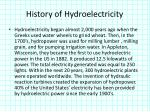 history of hydroelectricity
