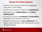 seeds for future lessons