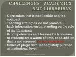 challenges academics and librarians