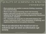 quality of learning in african universities