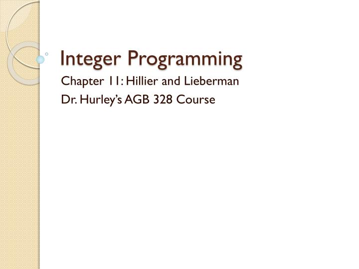 integer programming n.