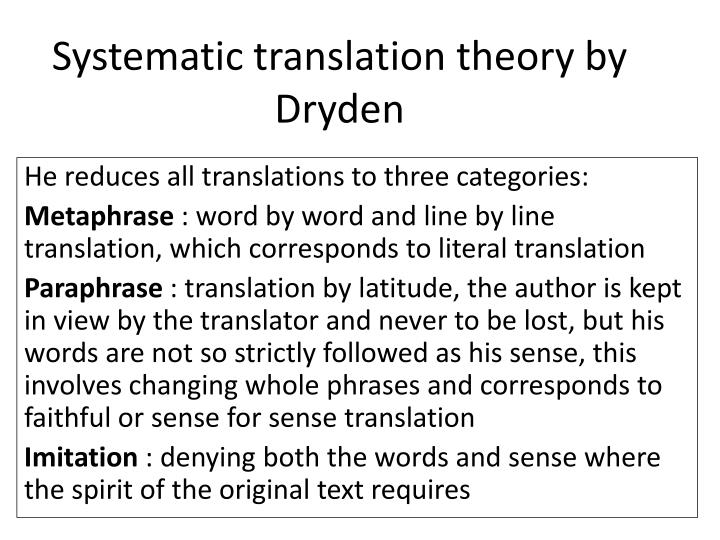 systematic translation theory by dryden n.