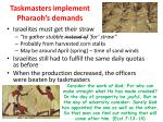 taskmasters implement pharaoh s demands