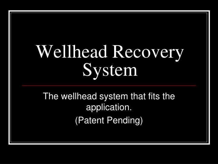 wellhead recovery system n.