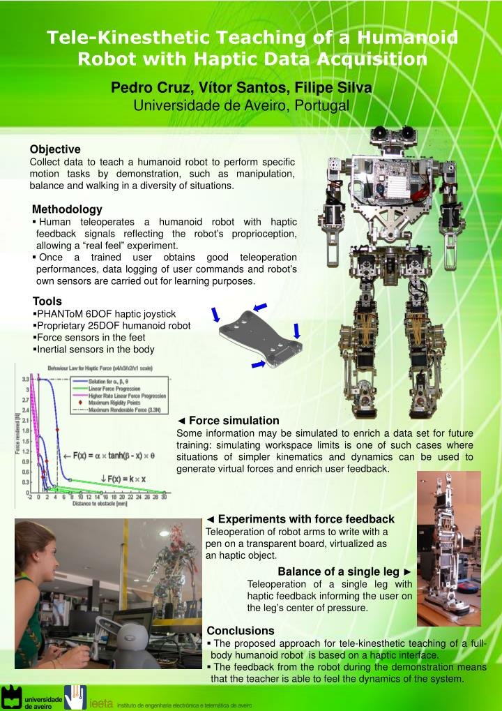 tele kinesthetic teaching of a humanoid robot with haptic data acquisition n.
