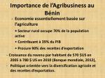 importance de l agribusiness au b nin