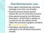 club administration cont