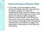 general purpose of alumni clubs