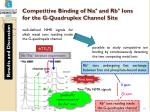 competitive binding of na and rb ions for the g quadruplex channel site