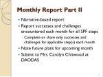 monthly report part ii