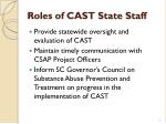 roles of cast state staff