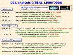 dcc analysis @ ebac 2006 2009