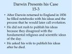 darwin presents his case 15 3