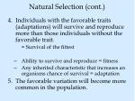 natural selection cont
