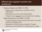 different lists regulate nurseries and landowners