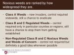 noxious weeds are ranked by how widespread they are