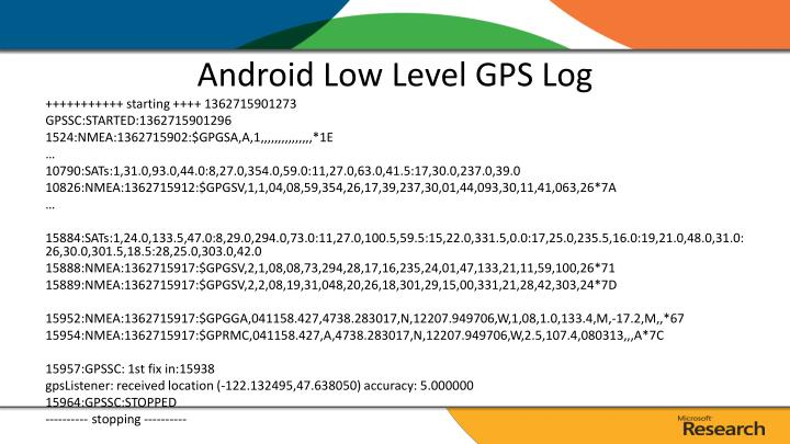 Android Low Level GPS Log