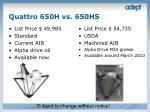 quattro 650h vs 650hs