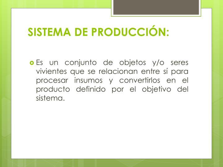 SISTEMA DE PRODUCCIÓN: