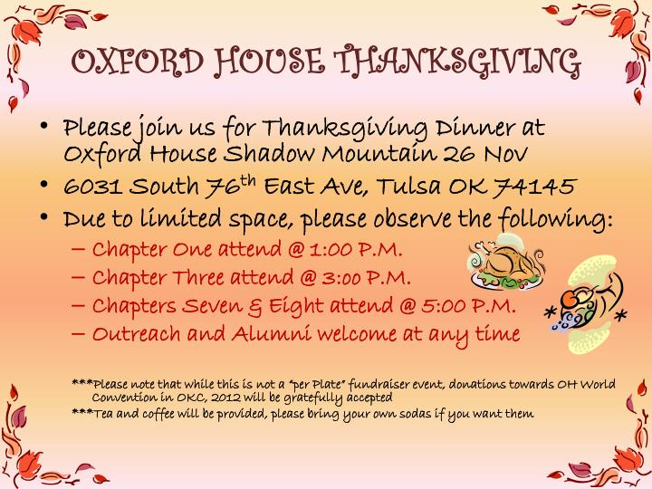 oxford house thanksgiving n.