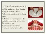 table manners cont