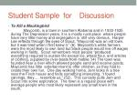 student sample for discussion