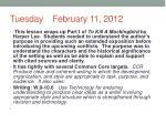 tuesday february 11 2012