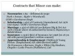 contracts that minor can make