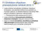 fi elinik isen ohjauksen yhteisty ryhm n teht v t 2010 11