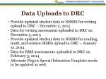 data uploads to drc