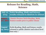 release for reading math science