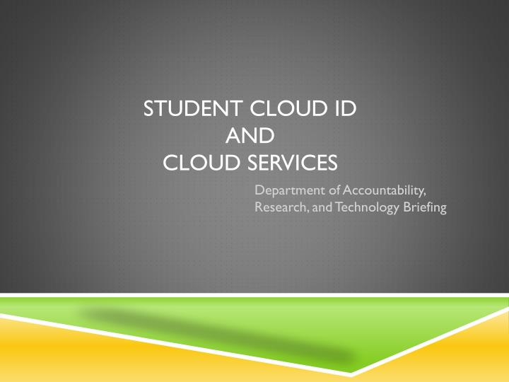 student cloud id and cloud services n.