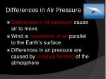 differences in air pressure