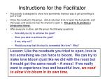 instructions for the facilitator