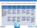 part 2 coherence organization and style rubric levels